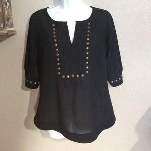 EUC M 41 Hawthorne Black v-neck Sheer Blouse